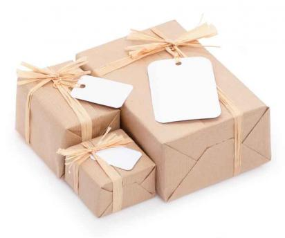 Holiday presents in green gift wrapping