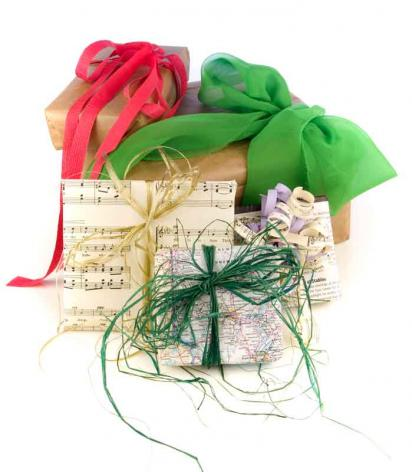 Green presents, gift wrapped in recycled wrapping