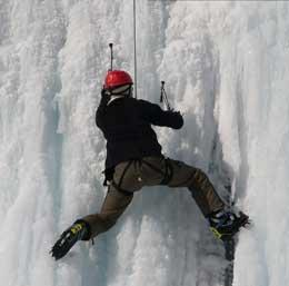 Dig in! When you go ice climbing you have to use special pick axes to climb!