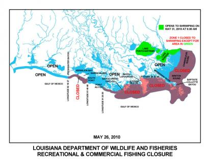 Gulf Fishery Closing Map (Source LDWF 052710)