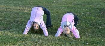 Funny Humorous Girls Upside Down