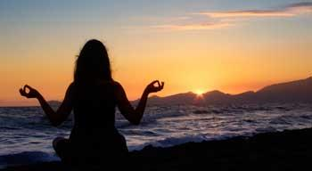 Sunset Meditation on the Beach Outdoors for Wellness