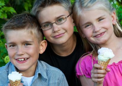 Kids Eating Ice Cream They Made Outdoors