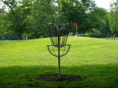 Image of a Strange Looking Disc Golf Basket With Unusual Round Edge Basket ball